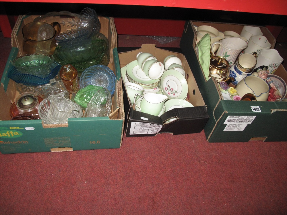 Lot 1036 - A Duchess Part China Tea Service, leaf moulded wares, clear and coloured glassware, Gibson's three