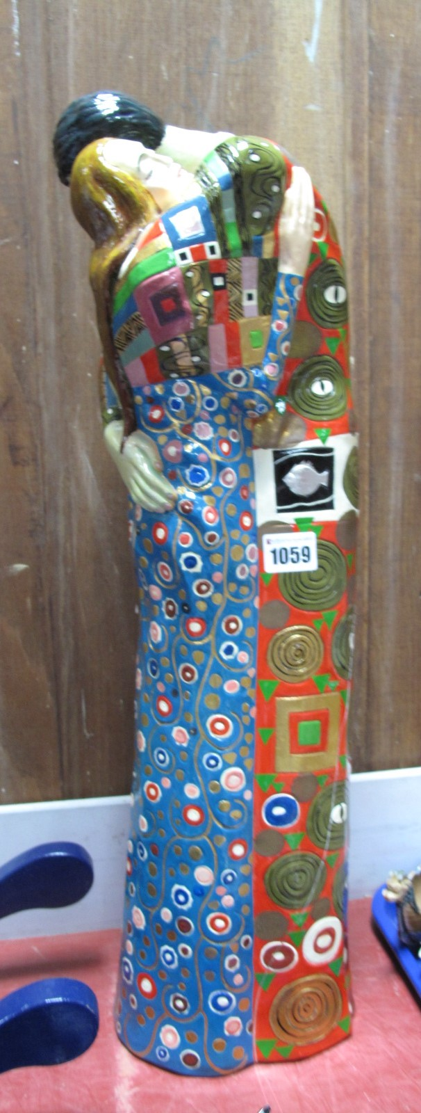 Lot 1059 - Large Pottery Figure Group of Courting Couple, in the style of Gustav Klimt, 57cm high (cracked);
