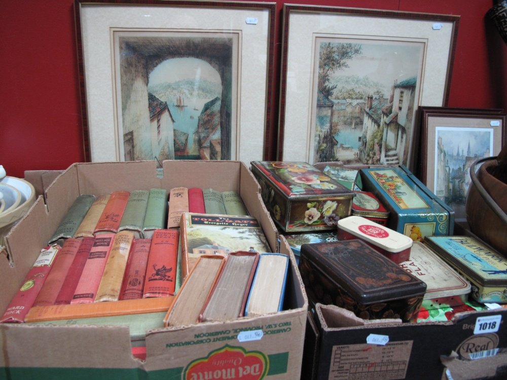 Lot 1018 - A Collection of Vintage Storage Tins, (St. Bruno, Mattock's, Cherry Blossom, etc), a quantity of mid