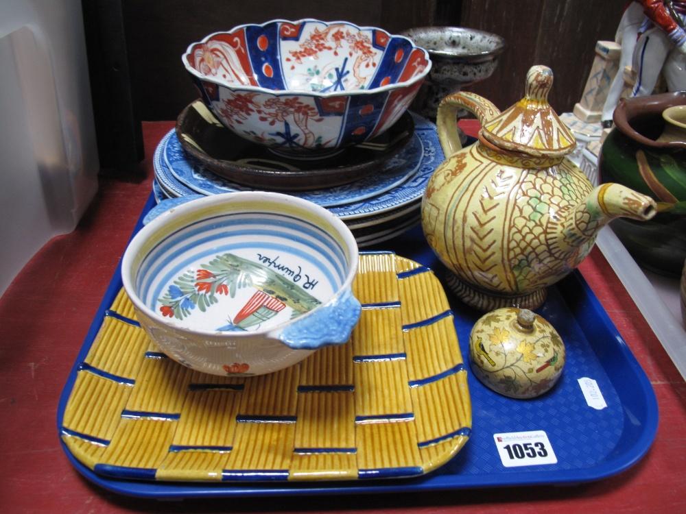 Lot 1053 - A XIX Century Minton Majolica Basket Ware Dish, Quimper bowl, Copeland Spode plates, etc:- One Tray