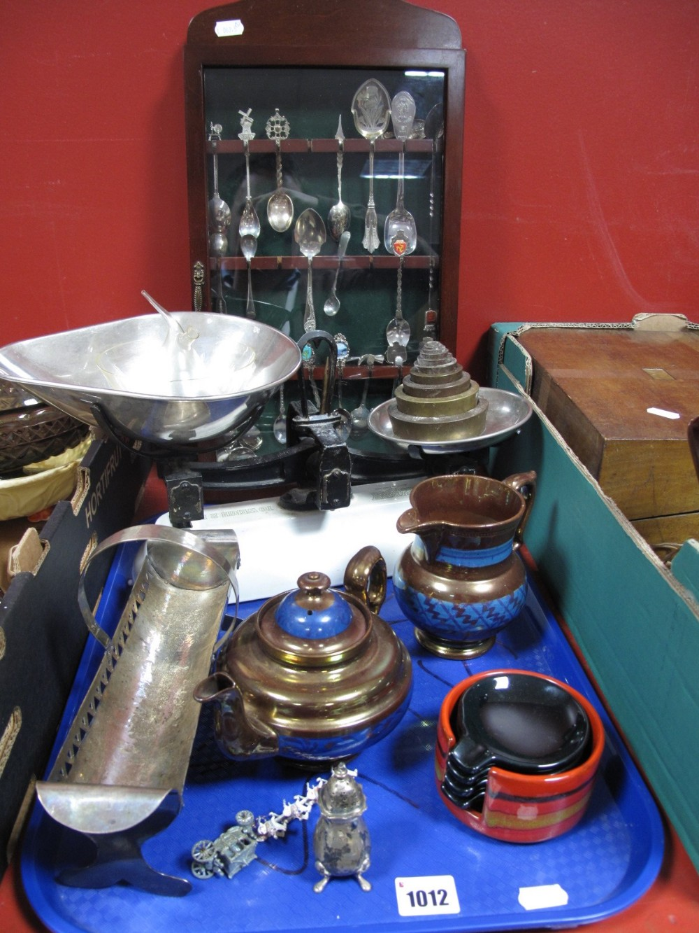 Lot 1012 - A Set of 2lb Avery Scales with Weights, silver hallmarked pepperette, Victorian copper lustre jug