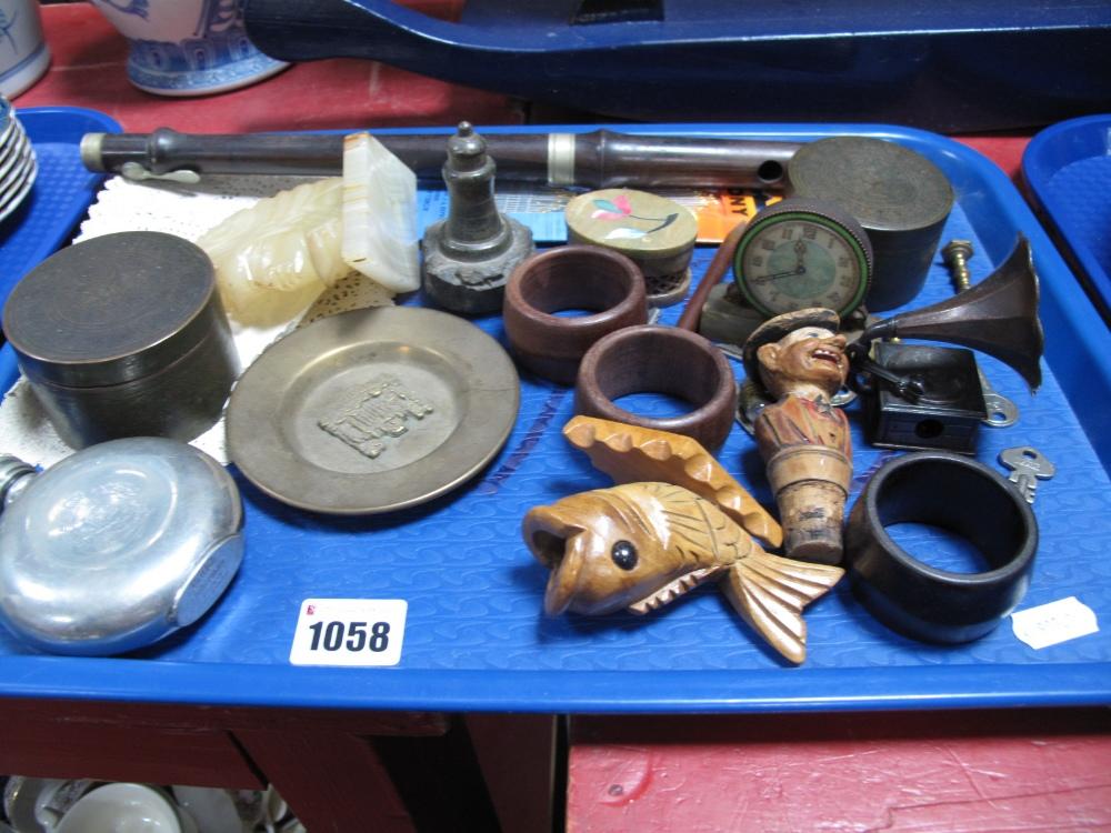 Lot 1058 - Whisky Flask, napkin rings, pill box etc:- One Tray