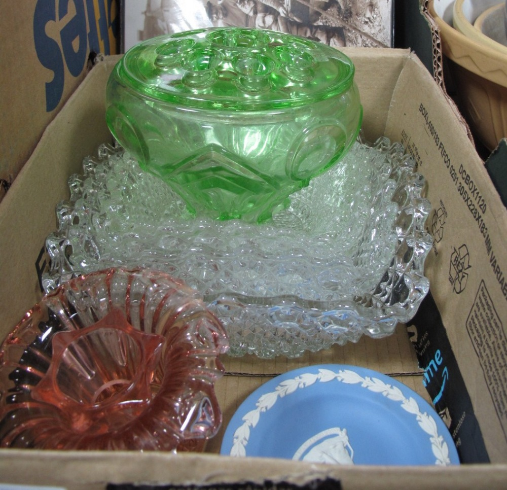 Lot 1016 - Glass Dishes, rose bowl, tea and dinner ware, other ceramics:- Two Boxes