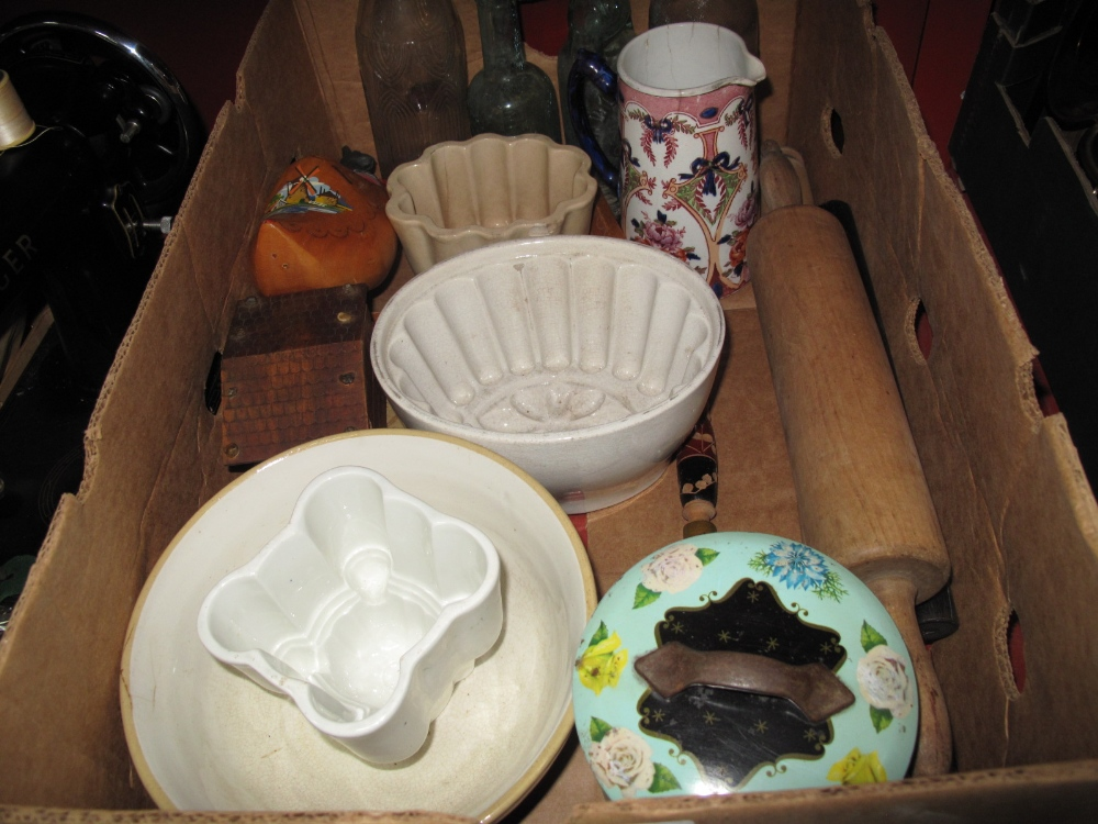 Lot 1024 - Pottery Jelly Moulds, rolling pins, glass bottles, etc:- One Box