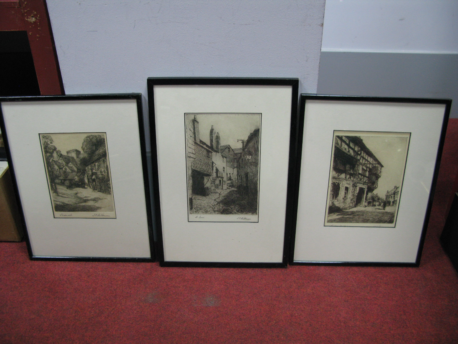 Lot 1052 - Two South East Asian (?) Souvenir Prints, on material, depicting rural life, (each 44.5 x 40cm ),