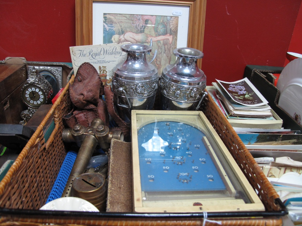 Lot 1014 - Chad Valley Bagatelle, vintage Harry Mason heavy brass beer taps, cased and loose cutlery, Royal