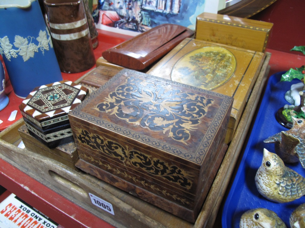 Lot 1005 - Tunbridge Bordered Sorrento Music Box, eight others:- One Tray