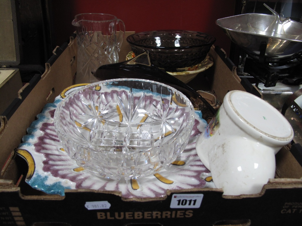 Lot 1011 - A Studio Glass Model Dolphin, length 35cm, lead crystal bowl, jug, pottery shallow twin