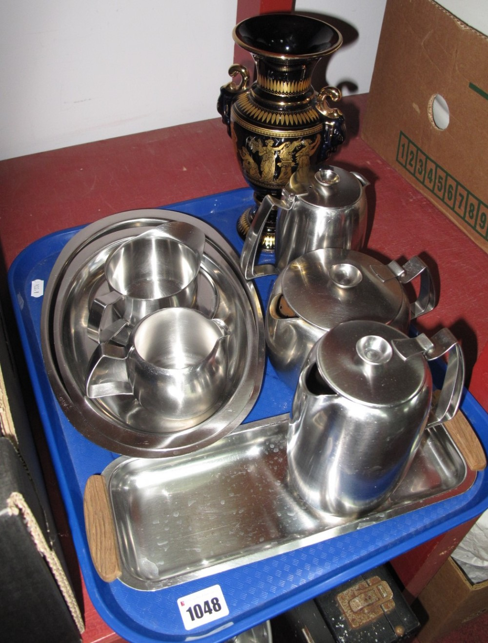 Lot 1048 - An Old Hall Stainless Steel Four Piece Tea Service, jug on stand, three other trays, Greek urn.