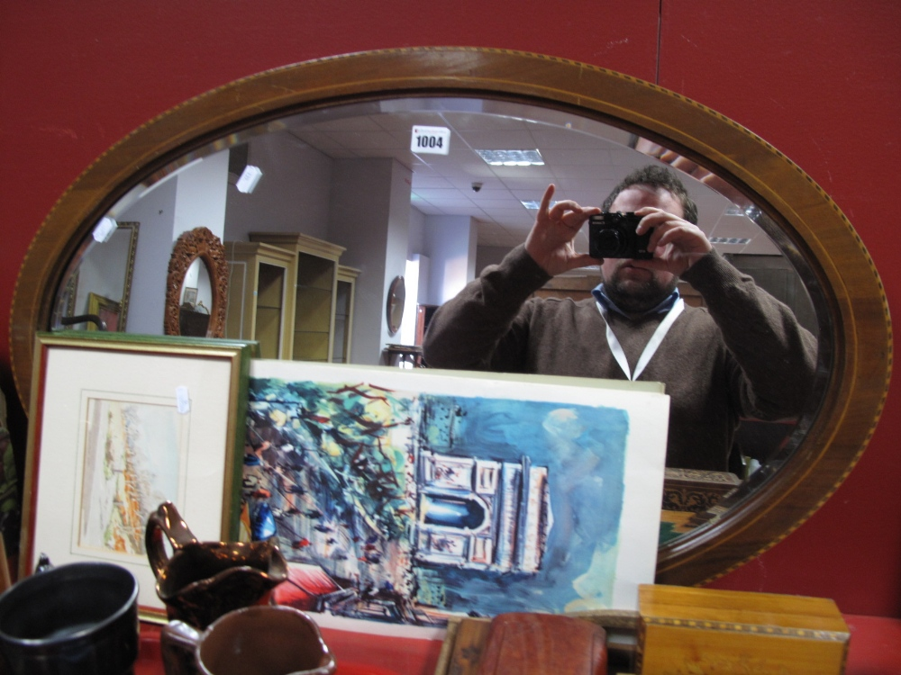 Lot 1004 - An Edwardian Inlaid Mahogany Oval Wall Mirror, three French prints and A. Ward 'Hathersage Road'