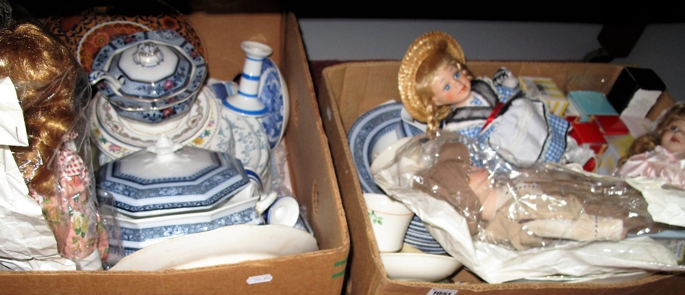Lot 1051 - Victorian Dinnerwares, (tureens, meat plates, etc), further pottery, modern porcelain dolls,