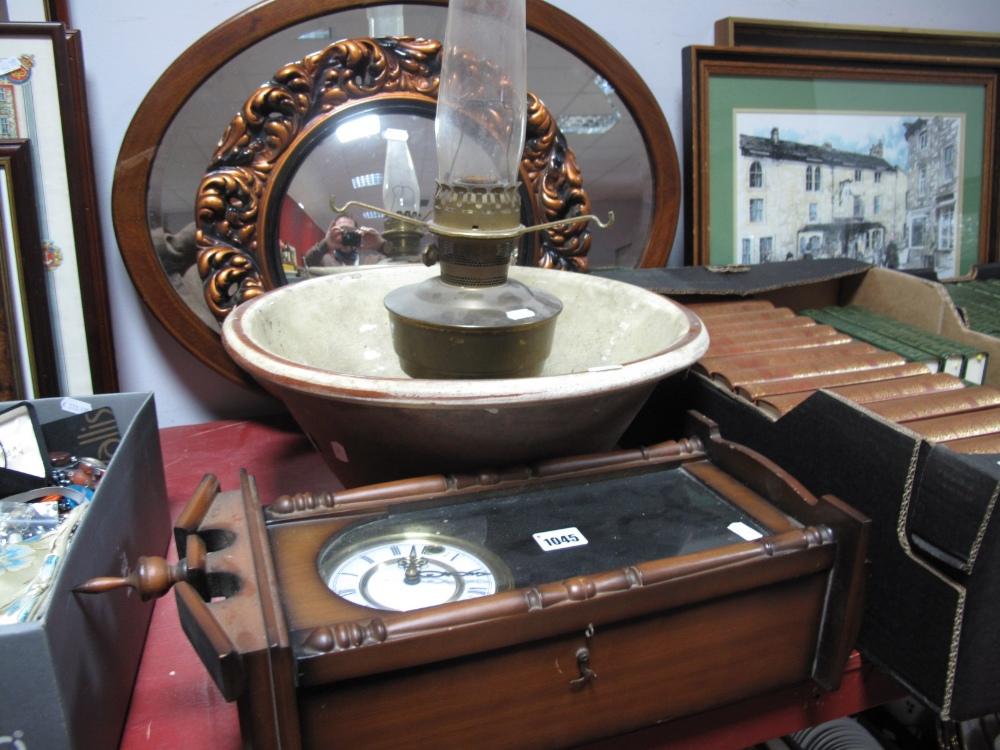 Lot 1045 - An Edwardian Inlaid Mahogany Bevelled Oval Wall Mirror, circular wall mirror, reproduction