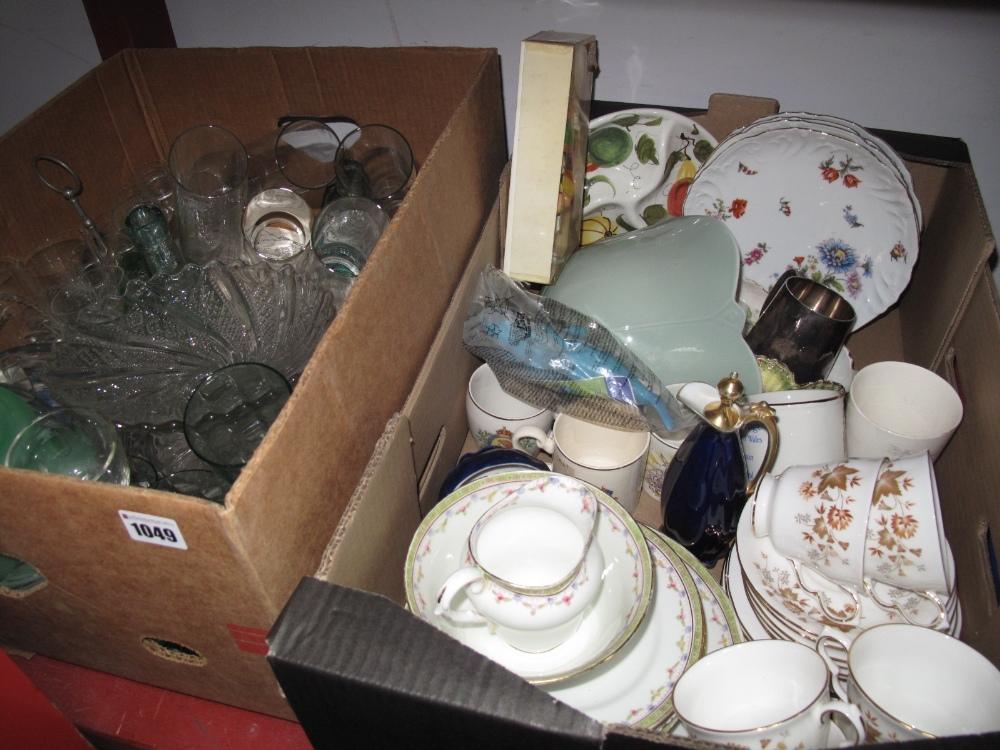Lot 1049 - Glassware, oil lamp finials, Colclough 'Avon' teaware, other ceramics:- Two Boxes