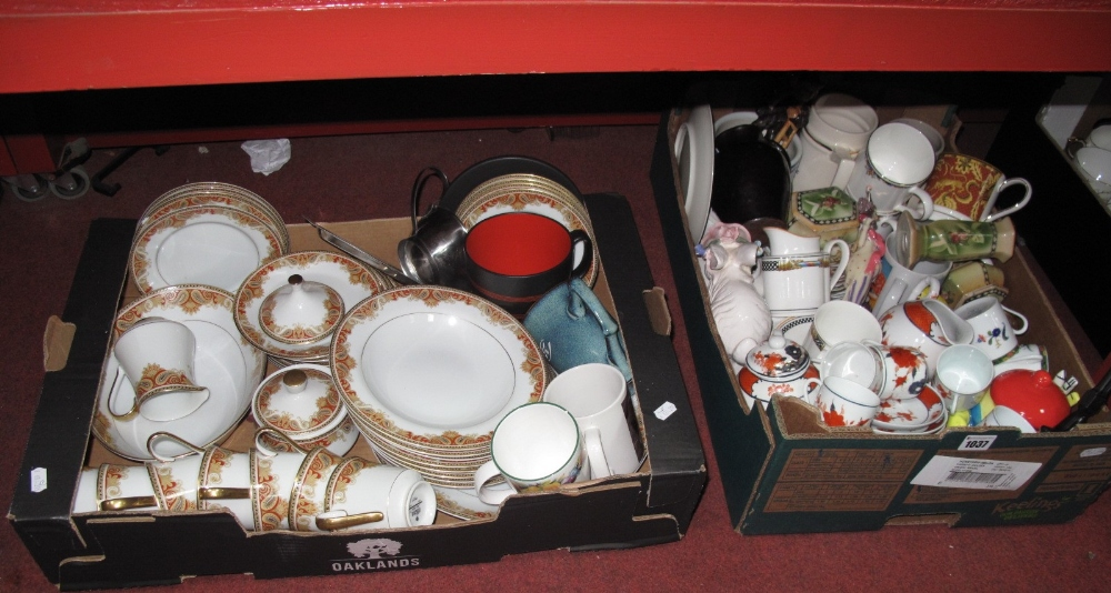 Lot 1037 - Mikasa 'Amherst' China Dinnerware, Wedgwood beakers, other china:- Two Boxes
