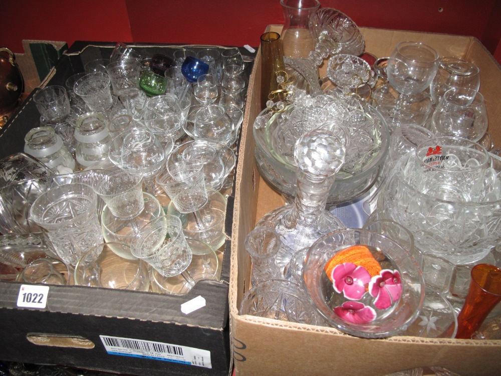 Lot 1022 - Stuart Cut Glass Decanter, cut glass vases, bowls, pressed and other glassware:- Two Boxes