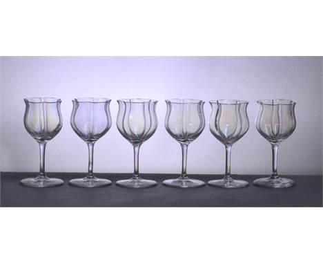 Attributed to LOBMEYR; a set of six Art Nouveau sherry/port glasses, each with quatrilobed bowls above plain stem and plain f