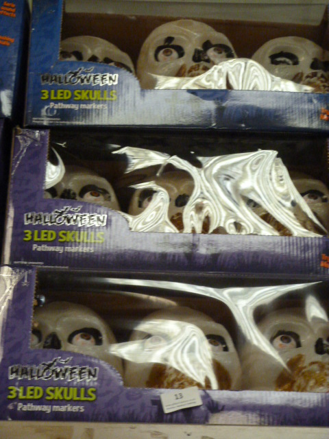 Lot 13 - Three Sets of Three Halloween LED Pathway Marker I