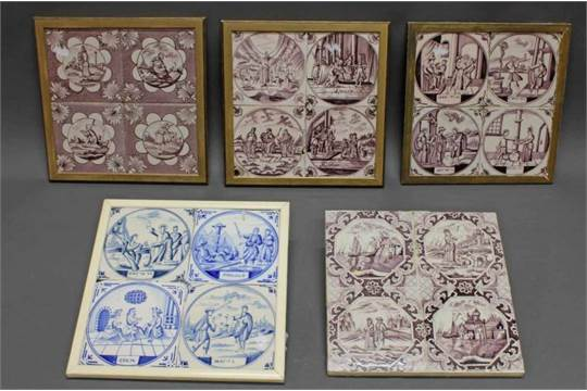 5 Fliesenbilder, Keramik, Delft, 18./19. Jh., Je Vierteilig, 3x Fliesen Mit  Bibelszenen, 2x Flies