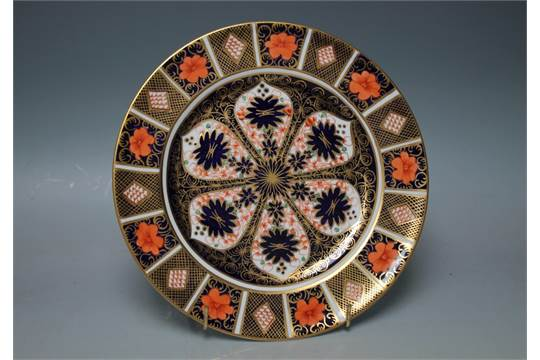 A ROYAL CROWN DERBY IMARI PATTERN CABINET PLATE, printed