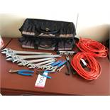 LOT - ASSORTED HAND TOOLS, TO INCLUDE: ADJUSTABLE WRENCHES, CUTTING TOOLS, EXTENSION CORDS, (2) TOOL