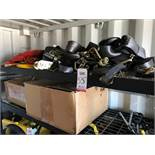 LOT - ASSORTED RATCHET STRAPS, TO INCLUDE RACK (LOCATION: FLEX CONTAINER)