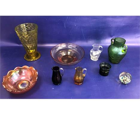 Mount Royal paperweight, a green lustre two-handled vasein Loetz-style, a yellow vase tapering and six other items