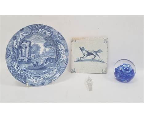 Copeland Spode 'Italian' pattern bowl, a glass paperweightand a delft blue and white tiledecorated with a dog (3)