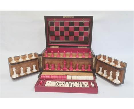 """""""The Royal Cabinet of Games"""" coromandel games compendium, rectangular with rounded hinged lid, having folded chequerboard, fi"""