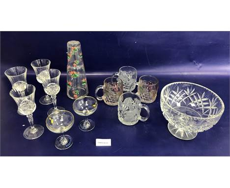 Set of six Babycham glasses, a cut glass fruit bowl, a rose decorated water carafe and tumbler, winesand other glassware