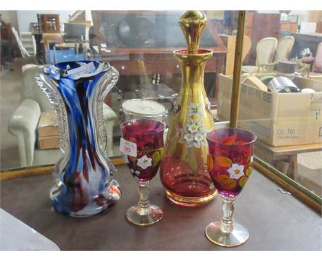MODERN BOHEMIAN WARES POSSIBLY BY MOSER, INCLUDING A CARAFE, STOPPER AND TWO WINE GLASSES WITH FURTHER ART GLASS VASE