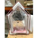 1 SET OF 2 METAL HOUSE SHAPED FRAMES - PINK (SOLD AS SEEN)