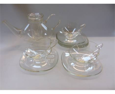 A 1950's Wagenfeld Schott and Gen clear glass tea service. Approximately 19 pieces.