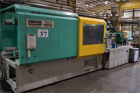 Arburg 720S 3200-2100,350 Ton, 45 4 oz  Shot Size Injection Molding