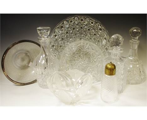 A cut glass decanter; two others; a circular cake platter; fruit bowls; sugar caster; qty