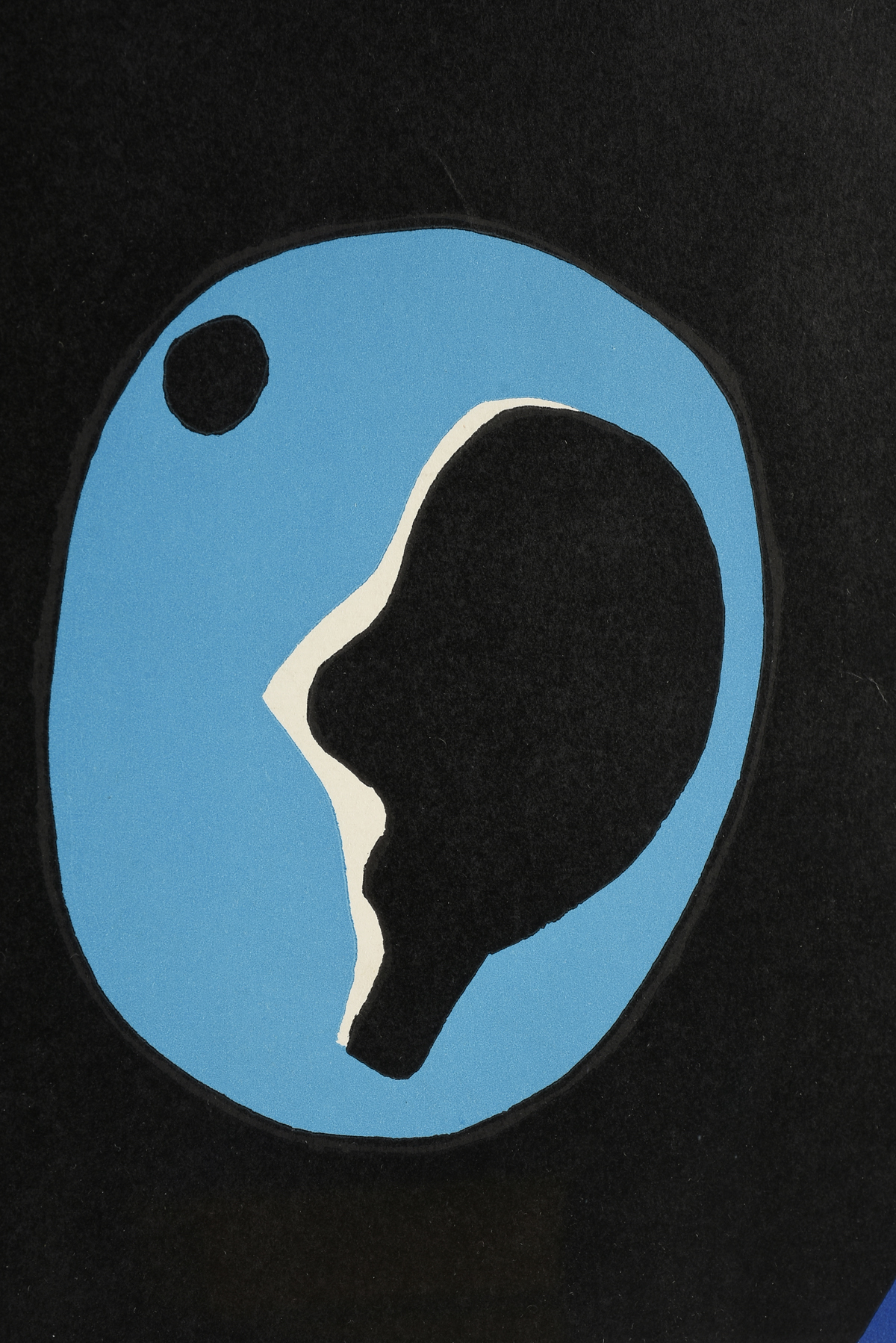"""Lot 12 - circle of JEAN ARP (French/Swiss 1886/87-1966) A MINIMALIST SERIGRAPH PRINT, """"Composition in Blue"""