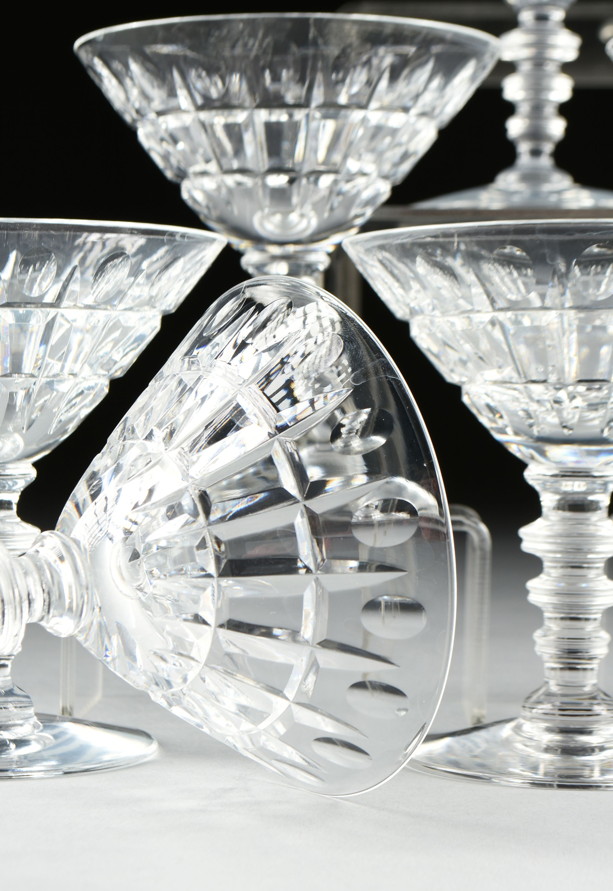 Lot 26 - A SET OF TWELVE HAWKES CUT GLASS CHAMPAGNE COUPE STEMWARE, VERNAY PATTERN, SIGNED, 20TH CENTURY,