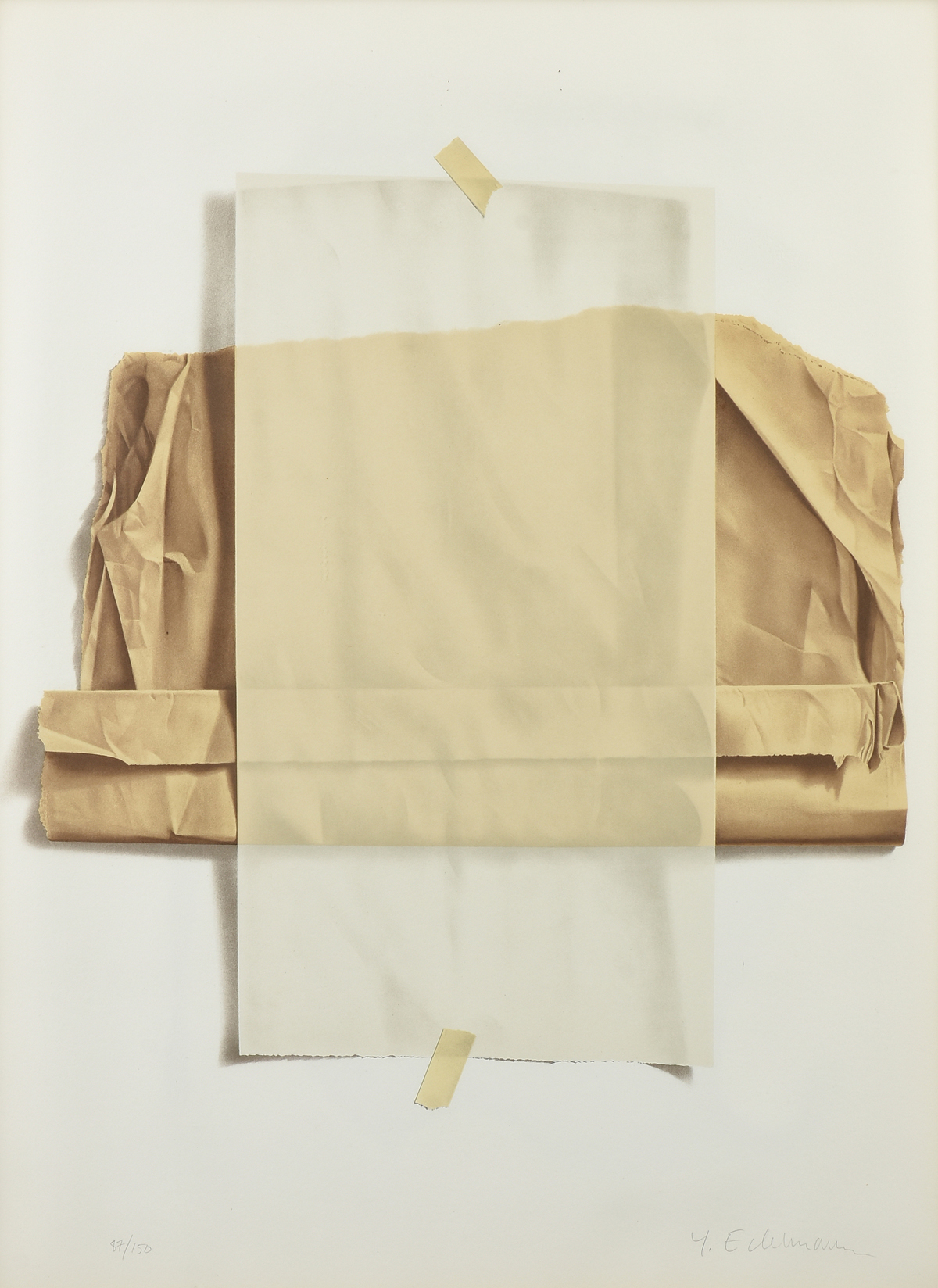 """Lot 27 - YRJO EDELMANN (Finnish 1941-2016) A PRINT, """"Wax and Brown Paper with Masking Tape,"""" color lithograph"""