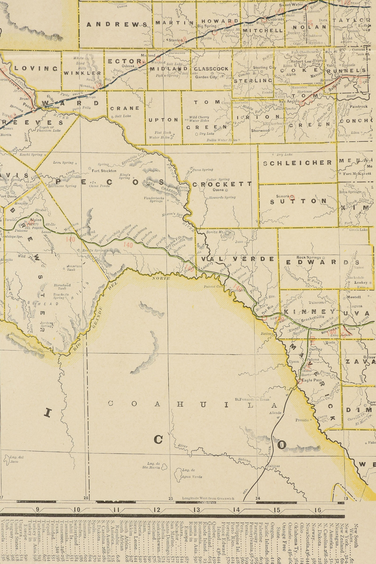 "AN ANTIQUE MAP, ""Western Half of Texas,"" CIRCA 1901, by George F. Cram, color engraving on paper, - Image 4 of 10"
