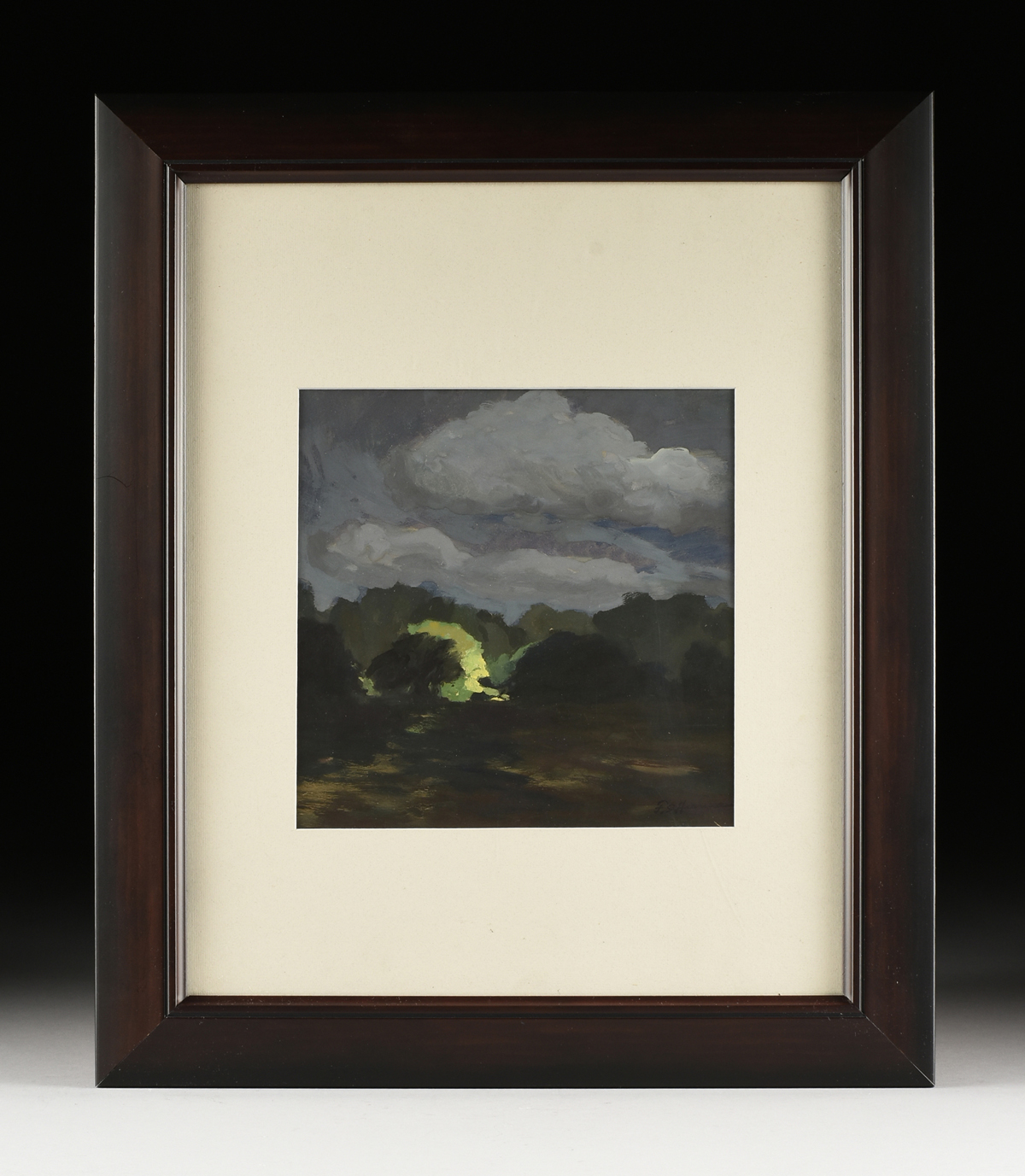 "Lot 17 - FRANK SIMON HERRMANN (AMERICAN 1866-1942), A PAINTING, ""Moonlit Clouds,"" gouache on paper, signed"