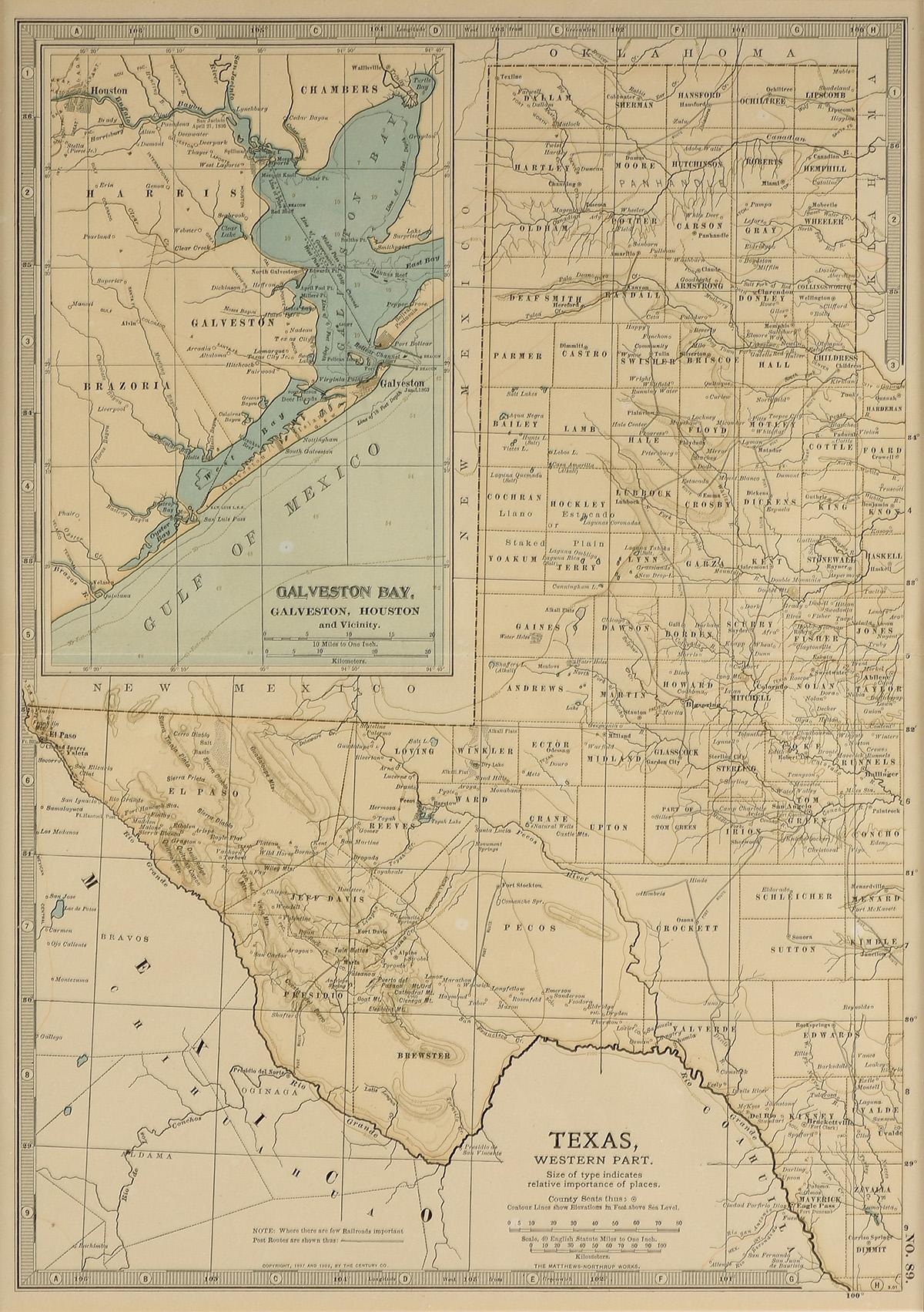 "Lot 30 - AN ANTIQUE MAP, ""Texas, Western Part, with Views of Galveston Bay,"" NEW YORK, CIRCA 1902, color"