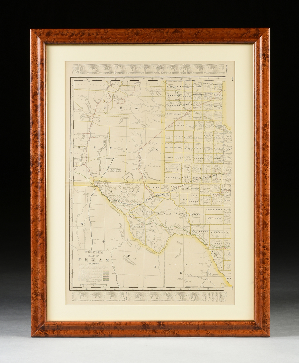 "AN ANTIQUE MAP, ""Western Half of Texas,"" CIRCA 1901, by George F. Cram, color engraving on paper, - Image 2 of 10"