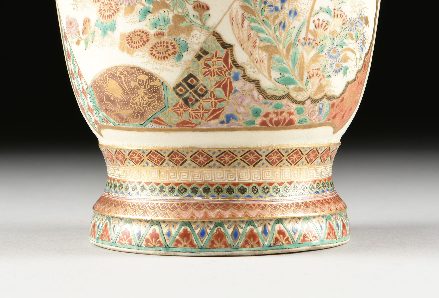 Lot 42 - A GROUP OF THREE SATSUMA PARCEL GILT AND POLYCHROME PAINTED EARTHENWARES, SIGNED, MEIJI PERIOD (