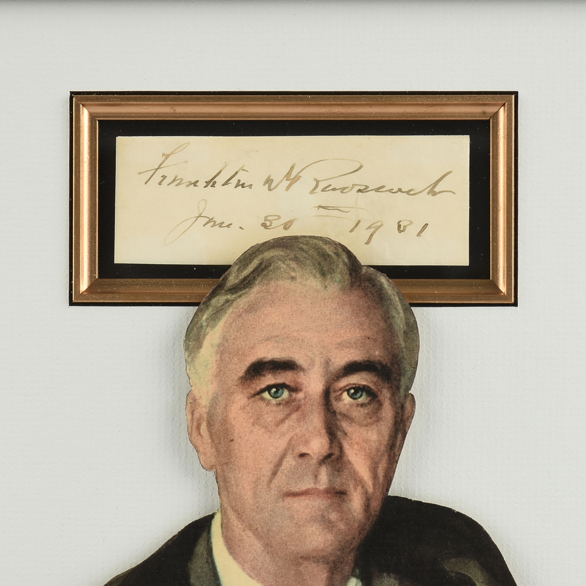 Lot 9 - AN AUTOGRAPH ON CARD, FRANKLIN DELANO ROOSEVELT (AMERICAN 1882-1945) SIGNED AND DATED JUNE 30, 1901,