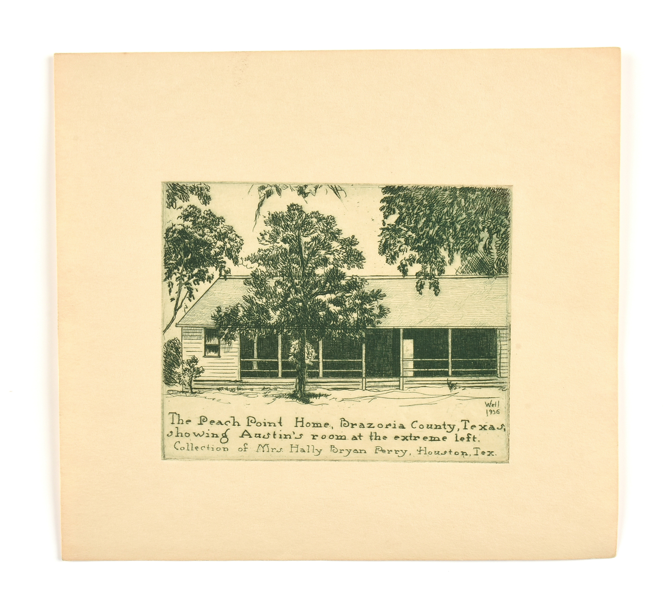 """after BERNHARDT WALL (American 1872-1956) A PRINT, """"The Peach Point home, Brazoria County, Texas,"""