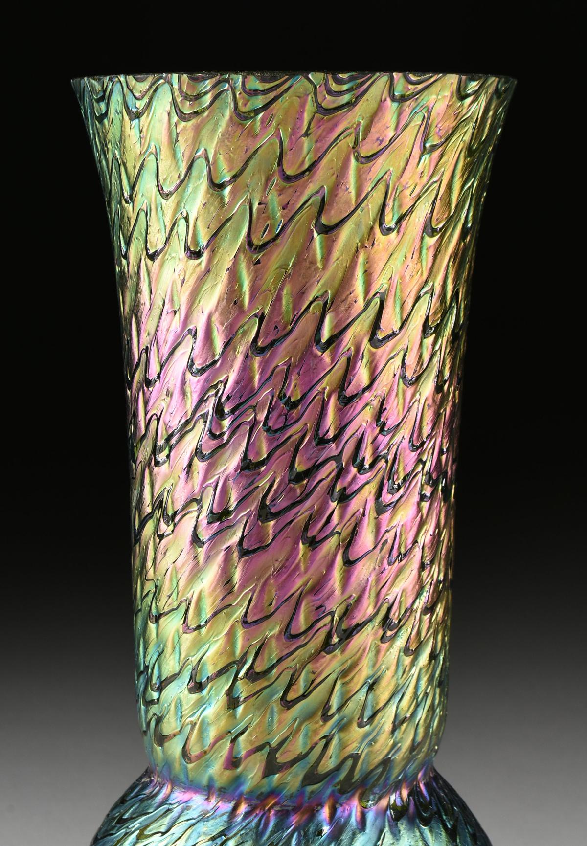 Lot 32 - TWO IRIDESCENT ART GLASS VASES, LUNDBERG STUDIOS, CALIFORNIA, CIRCA 1996, the trumpet vase with a