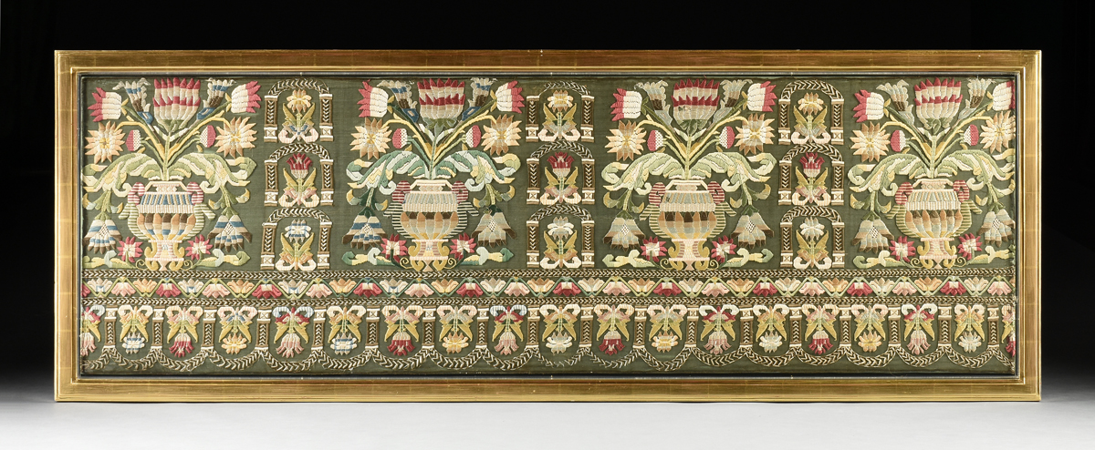 Lot 59 - A FINE ITALIAN BURATTO POLYCHROME SILK EMBROIDERED LACE PANEL, SECOND QUARTER 17TH CENTURY, with