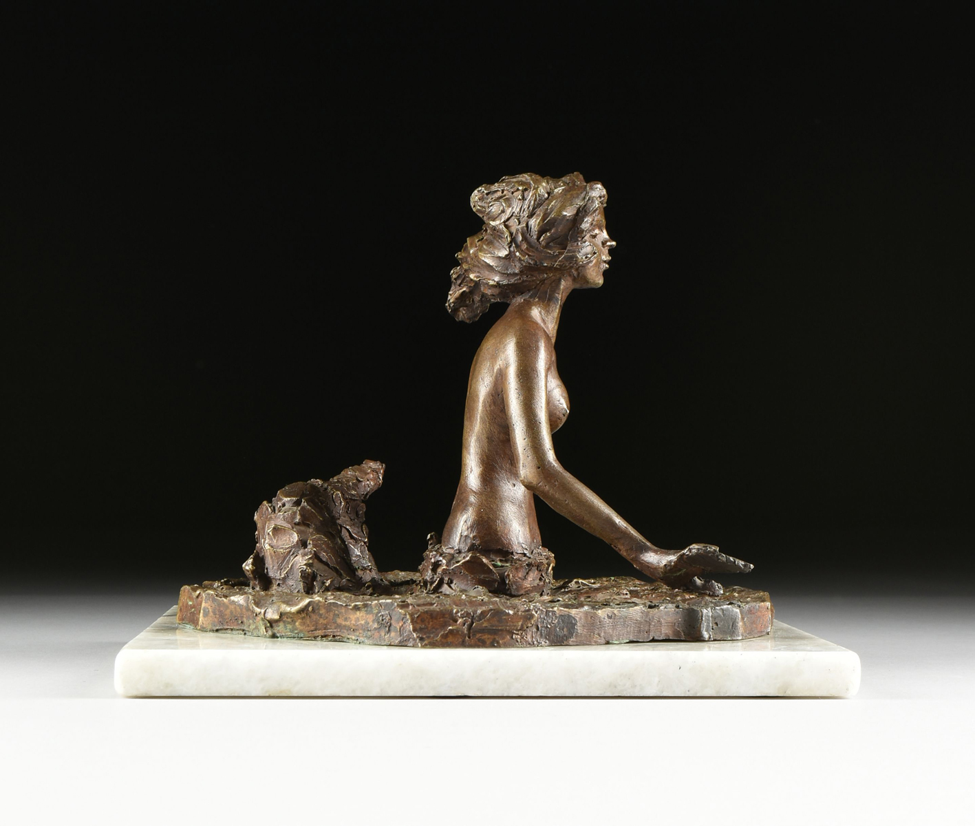 "Lot 20 - VICTOR SALMONES (Mexican 1937-1989) A SCULPTURE, ""Sirena,"" cast bronze mounted to a white granite"