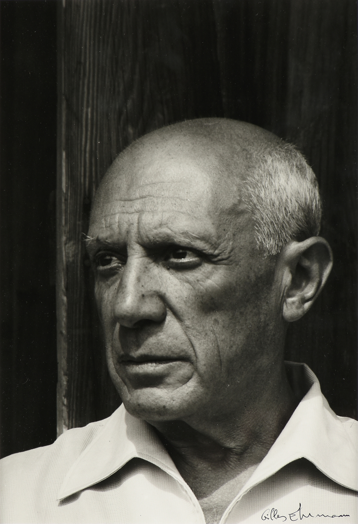 "GILLES EHRMANN (French 1928-2005) A PHOTOGRAPH, ""Pablo Picasso à Vence, 1956,"" ink on paper,"
