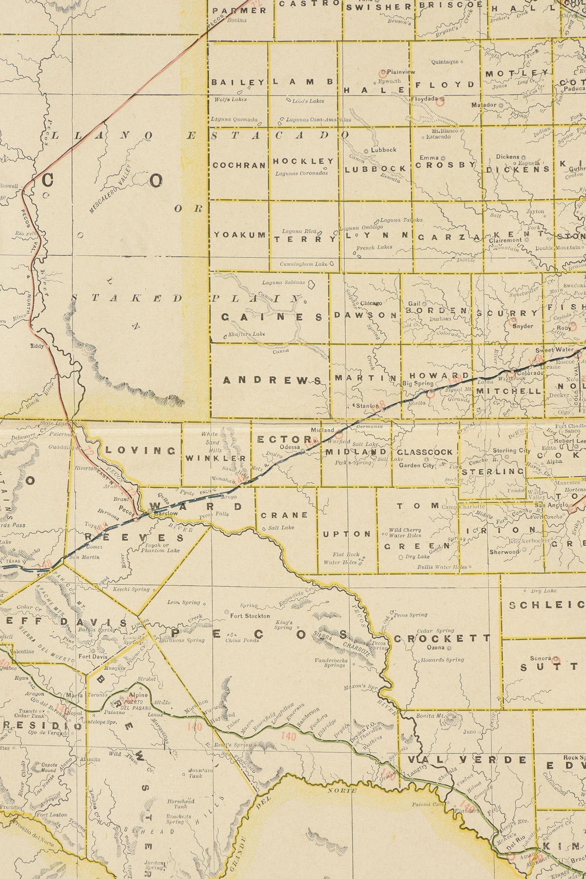 "AN ANTIQUE MAP, ""Western Half of Texas,"" CIRCA 1901, by George F. Cram, color engraving on paper, - Image 6 of 10"