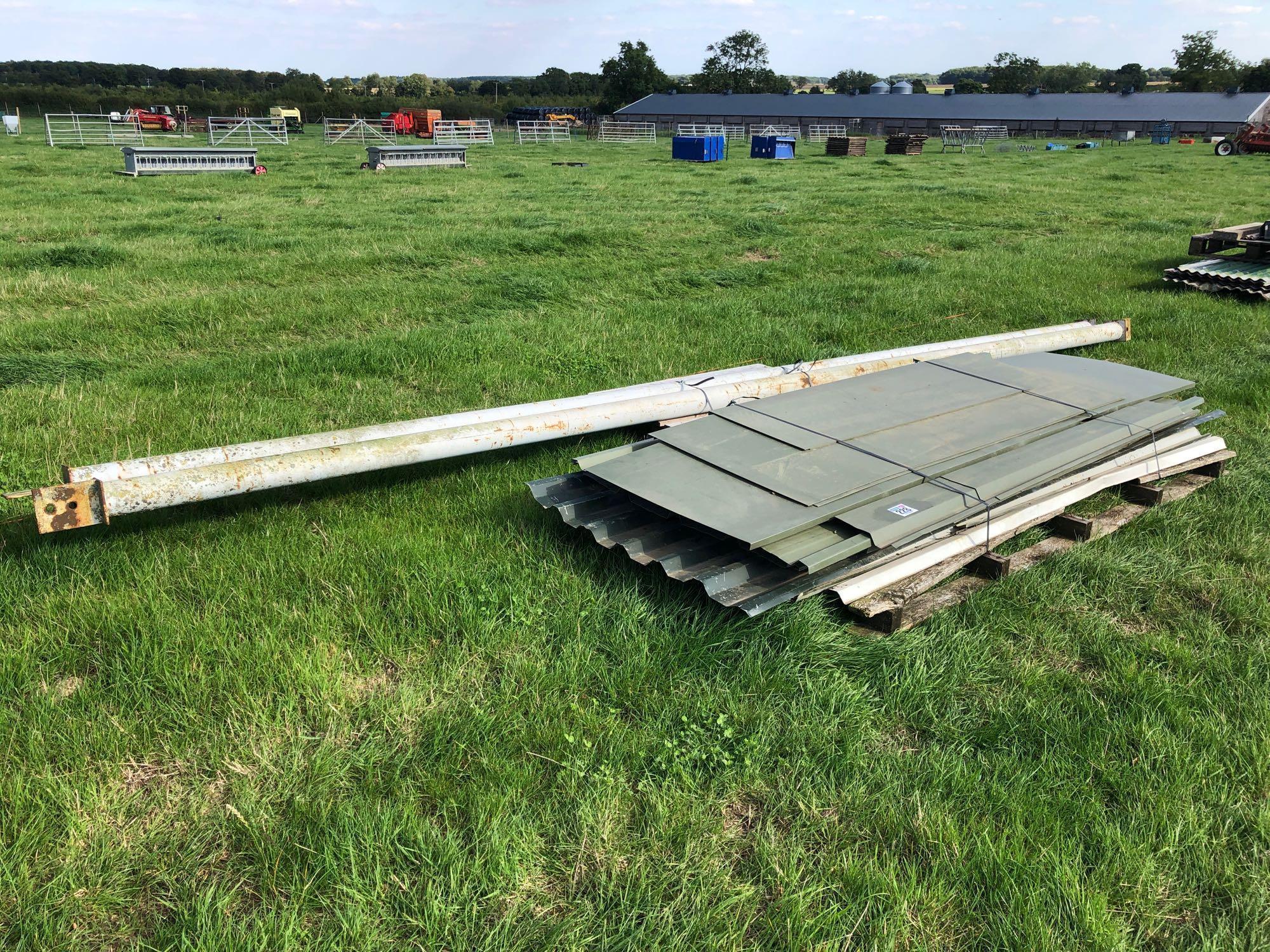 Quantity tin sheeting and metal posts